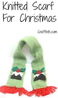 Scarf: Christmas Plum Pudding This Christmas Knitting Pattern shows you how to knit a scarf for a child with bright green colors and a pudding on it. Free craft and Knitting pattern Christmas Knitting Patterns, Knitting Patterns Free, Knit Patterns, Free Knitting, Popsicle Stick Christmas Crafts, Diy Christmas Gifts, Christmas Ideas, Christmas Inspiration, Christmas Ornaments