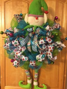 XL Deco Mesh Holiday Elf Wreath in Lime Green and Blue, Christmas Wreath, Whimsical Wreath, Elf Decor, Front Door Wreath by JDSouthernWreaths on Etsy https://www.etsy.com/listing/253395579/xl-deco-mesh-holiday-elf-wreath-in-lime