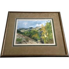 High Mountain Valley With Aspens Changing and Blue Skies Watercolor Painting Art Works on Paper Signed by Artist