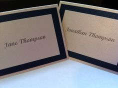 Ivory and Navy Wedding Name Place Cards by purelypapers on Etsy