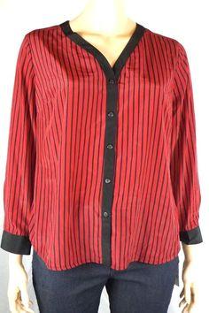 New Elementz Women's Sz 2X Shirt Blouse Red/black Striped  Button Front V-Neck #Elementz #Blouse #Career