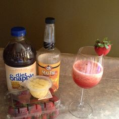 Delicious summer drinks ... Non-alcoholic:  Blend up ice, diet peach tea, Mai tai cocktail juice & either 1 fruit cup of peaches -or- some fresh strawberries.  Add in some vodka for a grown up twist & enjoy :)