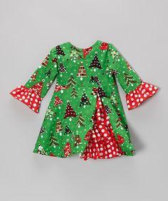 Green Christmas Trees Ruffle Dress - Toddler & Girls