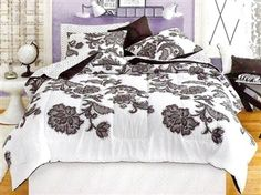 Lace black and white elegant twin xl college dorm bedding comforter with flower sticth pattern