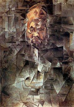 Pablo Picasso Portrait of Ambroise Vollard, 1910. Style Analytical Cubism. Technique Oil on canvas.Retrato de  por Pablo Picasso