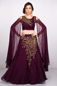b3a25e9e343b3 India s largest fashion rental service. Indian Designer WearWedding  WearBeaded EmbroideryLehenga. Rent ABHILASHA - Wine Embroidered Crop Top  And Skirt