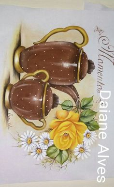 Vintage Diy, Country Paintings, Pottery Designs, Fall Flowers, Fabric Painting, Designs To Draw, Tea Pots, Decoupage, Stencils