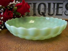 Vintage Jadeite / Jadite Fire King Bubble Glass by tithriftstore
