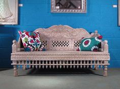 Indigo Asian Antiques This Indian Daybed is just perfect for snoozing on a lovely sunny day. It looks great with these bright & beautiful cushions.