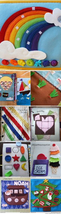 patrones and ideas - Quiet and busy book, patterns & Ideas Diy Quiet Books, Baby Quiet Book, Felt Quiet Books, Baby Crafts, Felt Crafts, Infant Activities, Activities For Kids, Indoor Activities, Baby Toys