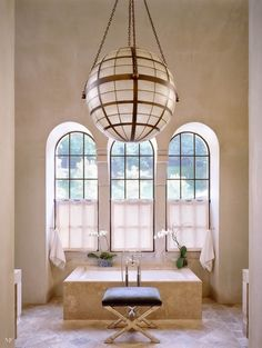 This globe chandelier steals the master bath show. Architecture by Bobby McAlpine & Greg Tankersley. Interiors by Ray Booth. Home Interior, Bathroom Interior, Interior And Exterior, Interior Design, Gold Bathroom, Modern Bathroom, Bad Inspiration, Bathroom Inspiration, Interior Inspiration