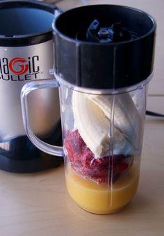 Raspberry banana drink: 1 banana, 1 Cup frozen raspberries, 1/2 cup orange juice, 1/4 cup plain non-fat yogurt