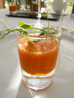 Carrot soup amuse-bouche