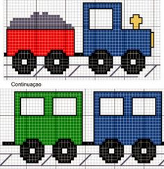 C2c Crochet, Crochet Crafts, Yarn Crafts, Crochet Baby, Baby Cross Stitch Patterns, Cross Stitch Charts, Train Art, Knitting For Kids, Pixel Art