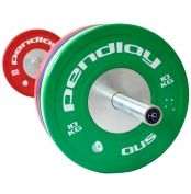 Pendlay Elite Color Bumper Plates Group  - Plate diameter: 450mm (IWF Standard is 450mm) - Collar opening: 50.40mm* - Insert type: Steel disc, zinc plated - Weight tolerance: +/- 10 grams of claimed weight - Coloring: A (graded: A through F) - , colored plates with white print - Odor: Low - Classification: High Grade Bumper Plate    For more info visit: http://www.gymandfitness.com.au/muscledriver-pendlay-elite-color-bumper-plates.html