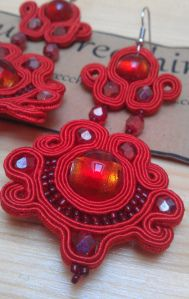 Red soutache earrings with Venetian silver-leaf red glass and fire-polished crystals