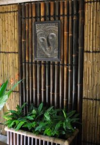 Like the idea of an insert in the middle of the bamboo Bamboo Panels, Bamboo Fence, Tropical Bathroom, Garden Inspiration, Garden Ideas, Patio Plants, Shade Plants, Bath Decor, Outdoor Projects