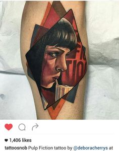 Pulp Fiction tattoo by @deboracherrys                                                                                                                                                     Plus
