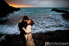 Down on the beach at James and Steph's Polhawn Fort Wedding.  By Polhawn Fort wedding photographer John Miles Photography