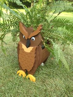Wooden Animal Planter - Owl by CutsNCrafts on Etsy