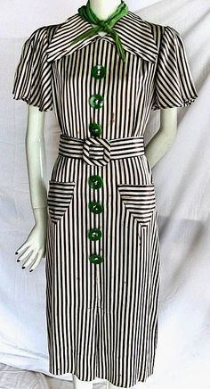 Glorious 1930s/1940s striped dress with green accents