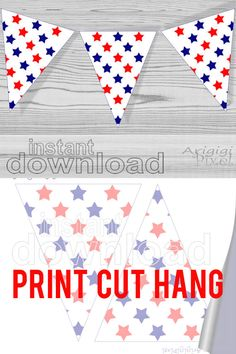 #Printable #Pennant #Banner with #red, #blue, white #stars #pattern - printable party decoration  for #American #holidays - #patriotic holidays, July 4th, Independence Day - designed by ArigigiPixel   Party decor DIY printable pennants for bunting banner ********** COLORS :red, blue, white **********PATTERN : stars  SIZE:  Medium size printable flags - about 6 x 7 in ( about 15 x 19 cm ) ,  two flags on one paper sheet image fit on an A4 paper and also lettersize paper