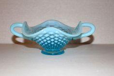 Vintage Fenton BLUE OPALESCENT Glass Hobnail 2-Handled BonBon Dish Vase