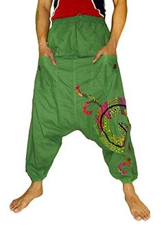 Sarjana Handicrafts Mens Cotton Harem Pockets Genie Dance Yoga Baggy Pants XLarge Green *** Check out this great product.(This is an Amazon affiliate link and I receive a commission for the sales)