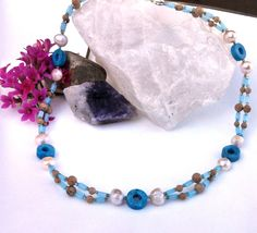 Jade pearl & natural stone necklace by InsomniacTreasures on Etsy, $40.00