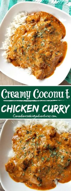 """Coconut Chicken Curry - This """"Creamy Coconut Curry Chicken"""" is made with coconut milk vs cream. It can be made in your -Creamy Coconut Chicken Curry - This """"Creamy Coconut Curry Chicken"""" is made with coconut milk vs cream. Creamy Coconut Chicken, Coconut Chicken Recipes, Chicken Curry Recipes, Creamy Chicken Curry, Butter Chicken Curry, Cooking Recipes, Healthy Recipes, Beef Recipes, Easy Recipes"""