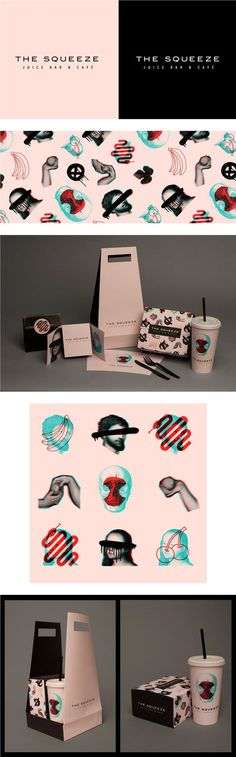 (53) The Squeeze Juice Bar & Cafe Takeaway Packaging by Laura Pursel | Logo, visual id, brand, iconography | Pinterest / Packaging / Design / Branding / Ideas / Inspiration / Brand / Visual Identity / Graphism / Edgy / Modern / Bold / Collage / Digital Art / Restaurant / Bar / Juicery / Cafe