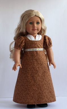 Brown Regency 1800's style American Girl style 18inch Doll Dress on Etsy, $35.00