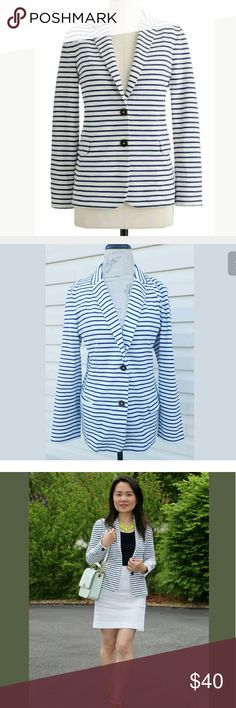 J.Crew Blue White Maritime Striped Blazer XL This is in great used condition. J. Crew Jackets & Coats Blazers