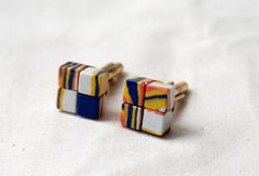 Mens Cuff links  Colorful cubic cuff links  Natural stone modern design #jewelry @LiliesAtelier