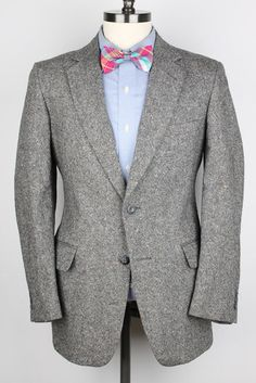 TWEED Grey DONEGAL Multicolor Flecked Wool 38 R mens Suit #NoBrand #TwoButton