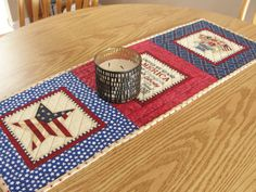 Patriotic Americana Quilted Table Runner Wall by countrysewing4U