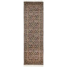 Safavieh Couture Hand-knotted Royal Kerman Billur Traditional Oriental Wool Rug with Fringe x Runner - Navy), Multicolor