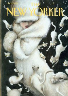 Woman wearing fur is besieged by cats. | The New Yorker: Feb 02, 2004  |  Ana Juan