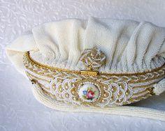 French White Micro Bead Vintage Bag
