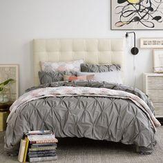 Organic Cotton Pintuck Duvet Cover Shams Feather Gray