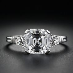 2.09 Carat Asscher Cut Diamond Solitaire Ring.  Love the highlight of the stone.  This is about the same size as mine.