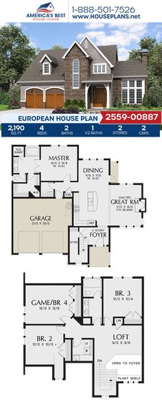With 2,190 sq. ft., Plan 2559-00887 showcases a European home design complete with 4 bedrooms, 2.5 bathrooms, a kitchen island, an open floor plan, a loft, and a media room. #europeanhome #europeanstyle #twostoryhome #architecture #houseplans #housedesign #homedesign #homedesigns #architecturalplans #newconstruction #floorplans #dreamhome #dreamhouseplans #abhouseplans #besthouseplans #newhome #newhouse #homesweethome #buildingahome #buildahome #residentialplans #residentialhome European Plan, European House Plans, Best House Plans, Dream House Plans, Floor Plans 2 Story, Suburban House, House Layouts, Building A House, New Homes
