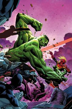 """Where is Bruce Banner? Only the Hulk can save him - if he weren't busy smashing the Avengers! Beat your greens: writer Mark Waid. When at the Android's Dungeon, ask for """"Hulk"""" Hulk 3, Hulk Marvel, Marvel Heroes, Captain Marvel, Hulk Avengers, Comic Book Characters, Marvel Characters, Comic Character, Comic Books"""