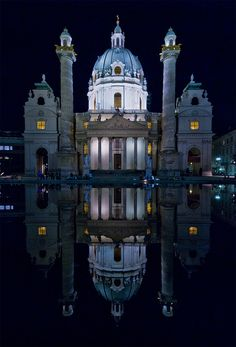 ✯ Karlskirche, Vienna, Austria one of my favorite places in the world. I can still hear the music.