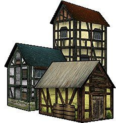 Nice example of simple Low poly Buildings that would fit nicely into a papercraft Game. (Michael James, 2008)