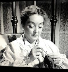 Bette Davis knitting in an old movie. She was moving as a pretty fast clip!  The movie is Phone Call From a Stranger with husband Gary Merrill 1952.