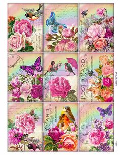 RAINBOWS and ROSES Digital Collage Sheet Instant от GalleryCat