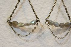 Labradorite Earrings - Gold Fill Wire, Hand made Earring Wires, Light weight pendants. $36.00, via Etsy.