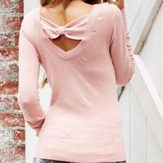 Blush Pink Bow Sweater So pretty!  Soft pink sweater with a v back and scoop neck, accented with a bow! Vegan Friendly Delia's Sweaters Crew & Scoop Necks