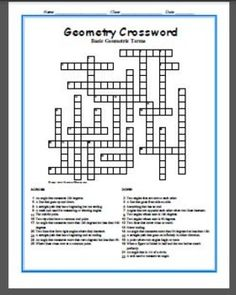 Geometry Crossword 25 Clues That Emphasize Points Lines And Angles